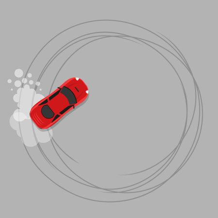Drift car tire circle road. Drift race show circle track grunge scratch vector top view