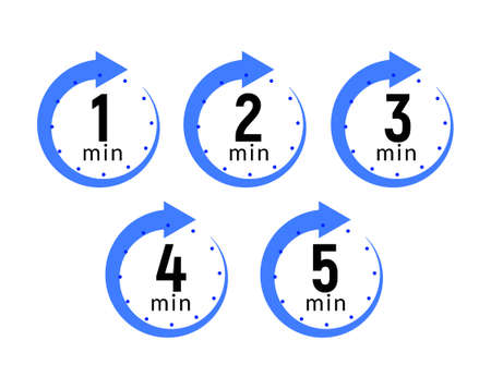 Minutes clock quick number icon. 1-5 min time circle icon