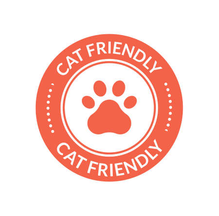 Pet animal cat friendly sign. Paw cat place icon certified