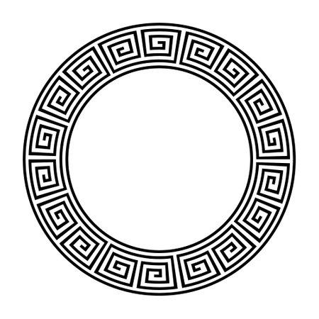 Greek circle pattern border. Vector round greek frame ornament ancient circular design background