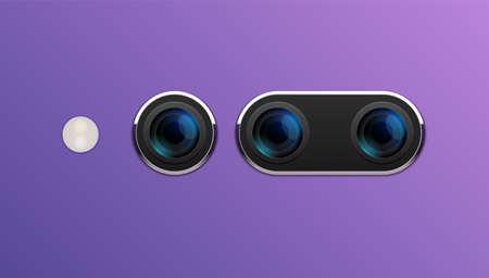 Camera phone lens mobile 3d vector icon. Smart phone camera lense back concept 向量圖像