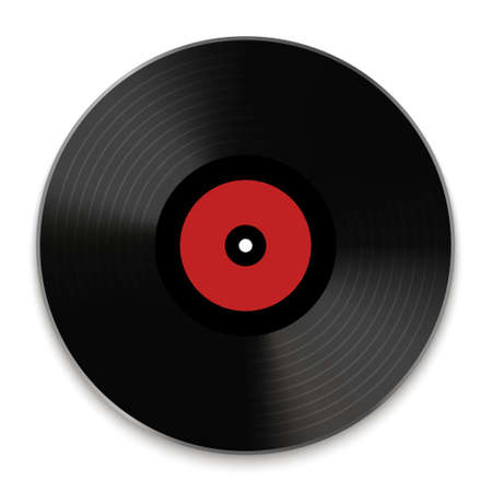 Vintage dj music vynil disk round icon. Retro classic song disc 向量圖像