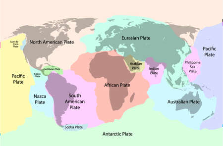 Tectonic plate earth map. Continental ocean pacific, volcano lithosphere geography plates 向量圖像