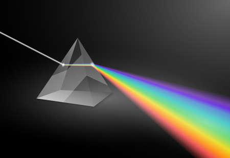 Electromagnetic prism light refraction spectrum. Optics floyd pyramid rainbow dispersion glass