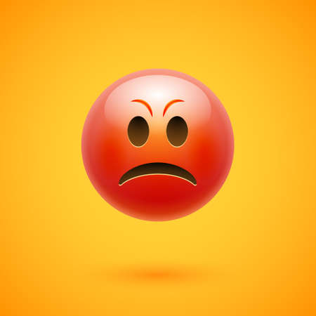 Angry emoticon emoji anger face. Angry emotion reaction furious 3d cartoon icon
