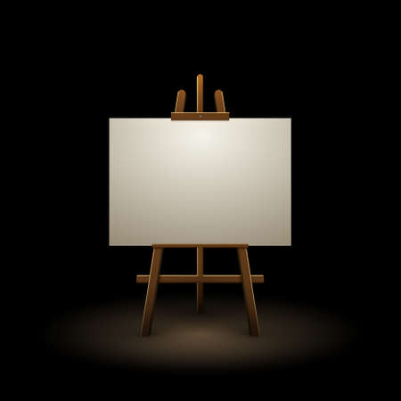 Wooden easel canvas board isolated stand in dark. Blank empty vector easel poster billboard 向量圖像