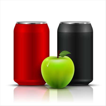 Apple fruit juice aluminium can vector isolated background