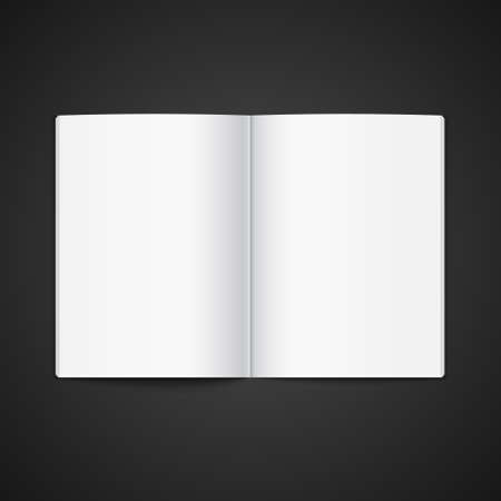 Blank opened magazine template. Open book page clean booklet or magazine template background