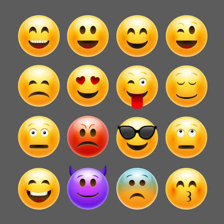 Vector emoticons emoji set. Smile face character for chat web 向量圖像