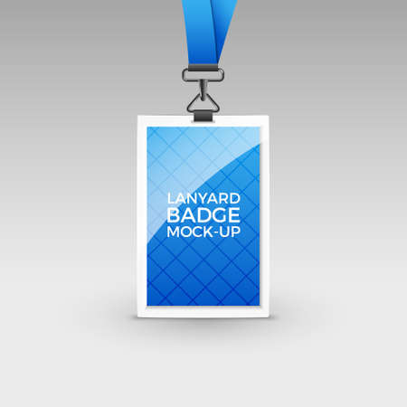 Lanyard badge id card template. Blank identity lanyard plastic and metal tag design name for company