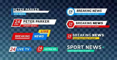 TV news third lower bar banner for broadcast sport. Set of tv bars video and text television template