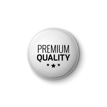 Silver white button label premium quality round emblem