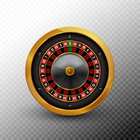 Roulette wheel vector casino fortune gold spin circle. Roulette realistic icon black vegas game background 向量圖像