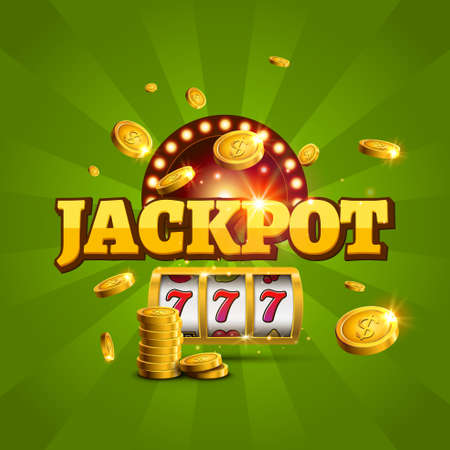 Jackpot background casino slot winner sign. Vector big game money banner 777 bingo machine design