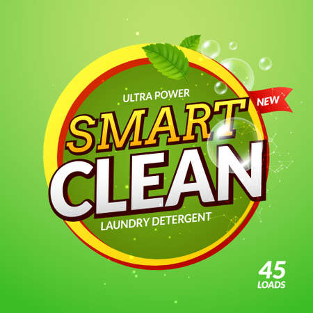 Laundry detergent smart clean design cleaner. Wash powder product template. Package design background 向量圖像