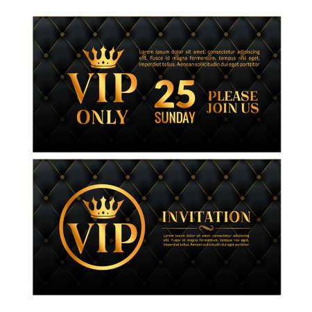 Vip luxury invitation event. Vintage leather exclusive invitation card design gold membership
