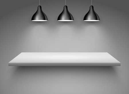 Spotlight shelf on wall background vector design. Light gallery spot empty room advertising shelf white lamp