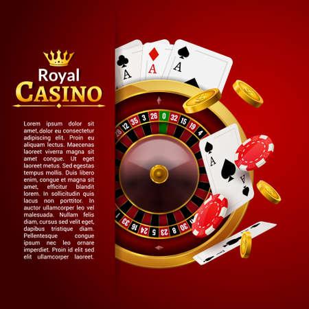 Roulette casino vector poker background, gambling wheel table
