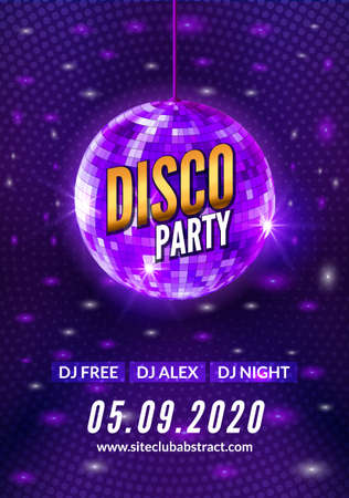 Disco dance party background flyer poster. Vector party template design. Light disco ball music 向量圖像