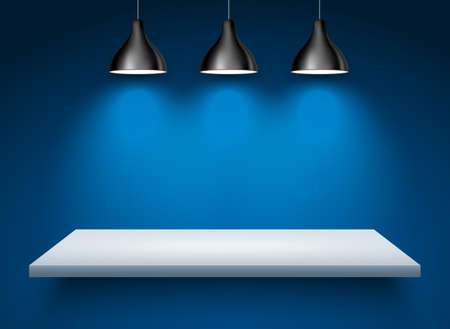Spotlight shelf on wall background vector design. Light gallery spot empty room advertising shelf lamp 向量圖像