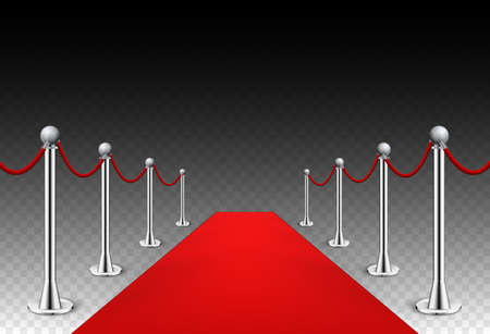 Red carpet event silver barriers background realistic vector illustration. Red carpet luxury entrance celebrity event presentation