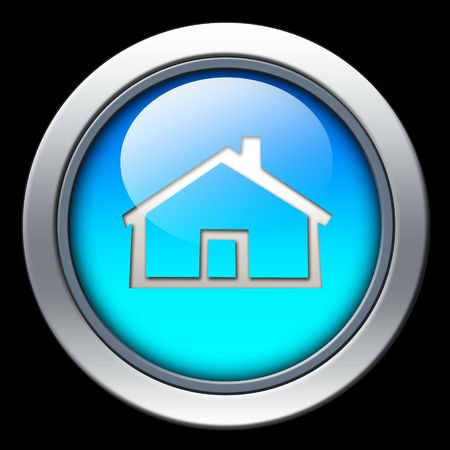 Blue home icon with metal border over black background photo