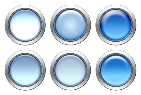 Blue blank buttons set with metal border isolated on white
