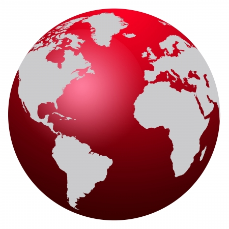 world communication: World map red globe - America, Europe and Africa
