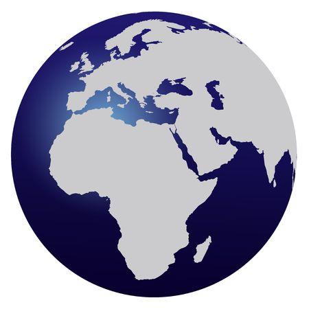 hemisphere: World map blue globe - Europe and Africa Stock Photo