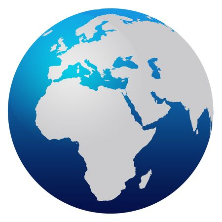 World map blue globe - Europe and Africa Stock Photo