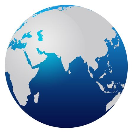 World map blue globe - Africa and Asia