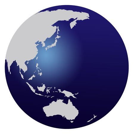 south east: World map blue globe - Asia and Australia