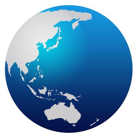 east asia: World map blue globe - Asia and Australia