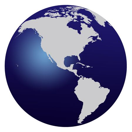 World map blue globe - America
