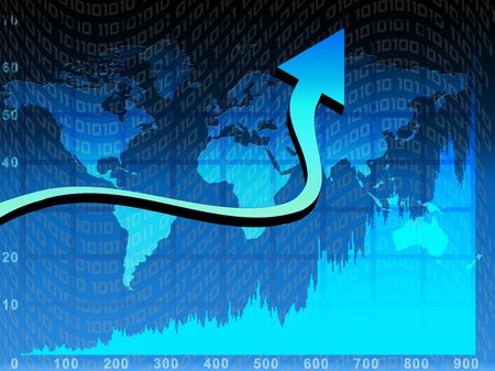 Chart and arrow over blue world map background Stock Photo