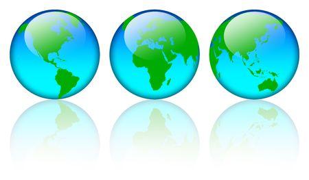Shiny world map globe isolated on white background Stock Photo