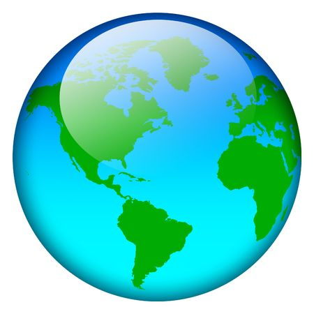 Blue world map globe