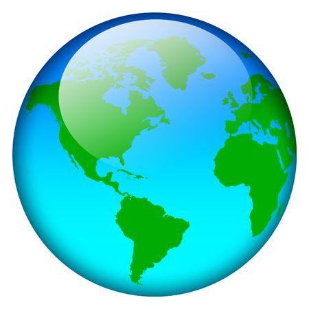 Blue world map globe