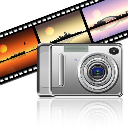 Camera on strip film background Stock Photo - 2554558