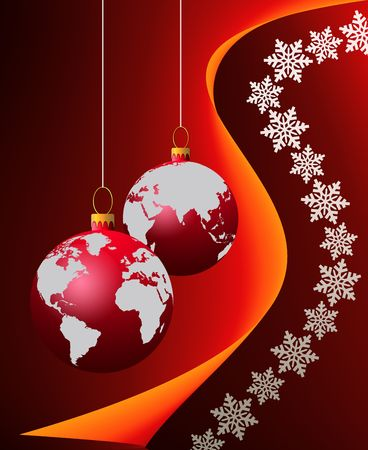 Christmas globe over snow flakes background Stock Photo