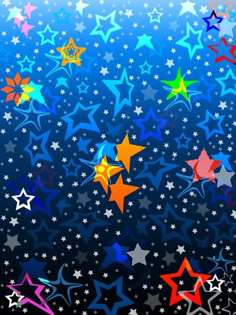 Group of colorful stars on blue gradient