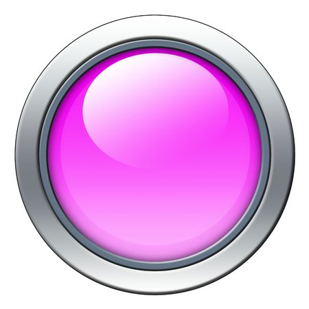 Blank pink icon with metal border isolated on white