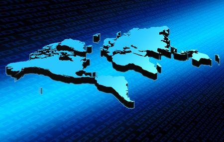 Blue world map on digital environment Stock Photo