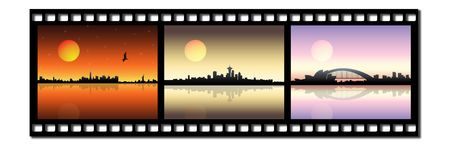Film strip icon with city silhouette photo