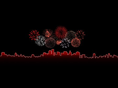Colorful fireworks isolated against a black sky above a glowing city