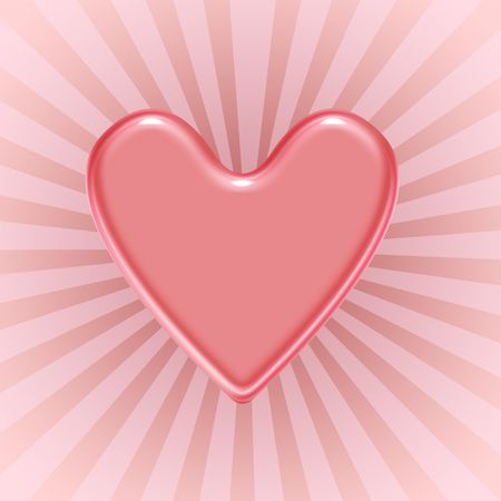 Red shiny heart over ray background
