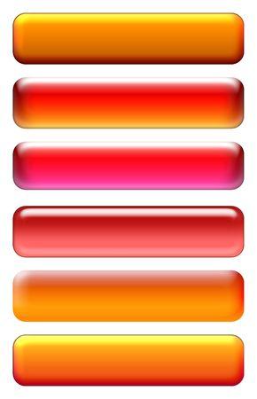 Orange blank buttons set isolated on white Stock Photo