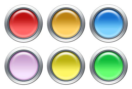 Blank colored icons with metal border isolated on white Stock Photo