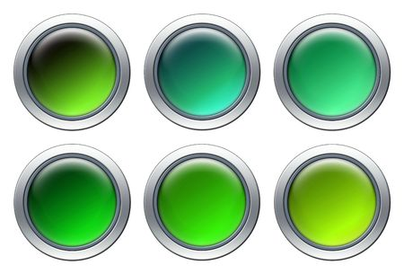 Blank green icons with metal border isolated on white