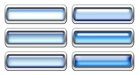 Blank blue icons with metal border isolated on white